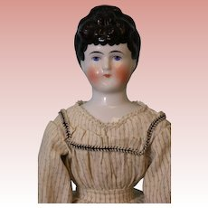 Antique 18 inch German China Head Doll with Flat Feet Unusual Hairstyle circa 1880!