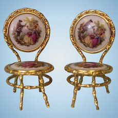 "2-1/2 inch tall Two Limoges Miniature brass frame chairs 1-1/2"" seats and back"