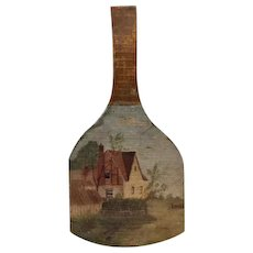 Painted Folk Art Wooden Butter Paddle 20th Century Cottage Farm Scene
