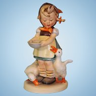 "6.5 inch Goebel Hummel Figurine ""Be Patient"" #197 Full Bee 1949 Girl Feeding Geese"