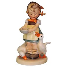 "6.5 inch Goebel Hummel Figurine ""Be Patient"" #197 Full Bee 1949 Girl Feeding Geese"