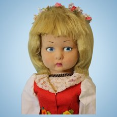 """Vintage 18"""" Lenci girl original tag """"Firenze"""" side glancing blue side Glancing Eyes"""