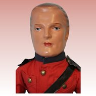 16 inch 1936 Composition Canadian Royal Mountie orig. Costume Belts,Boots,Red Jacket