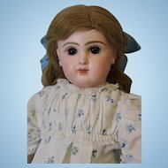 Antique 18 inch French Bisque Closed Mouth Tete Jumeau Adorable Dressed Circa 1890