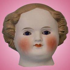 c.1880's Antique Parian Doll Head Beautiful Cobalt Blue Eyes & Flange Neck