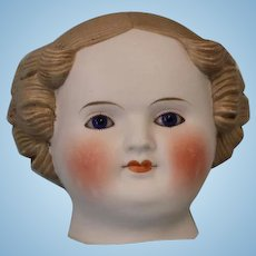 c.1880's Antique Parian Doll Head Beautiful Cobalt Blue Eyes & Flange Neck