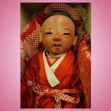 16 inch Japanese Ichimatsu Sexed Boy Baby c.1880 Red Tint Gofun Kimono & box