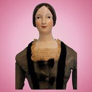 25 inch KPM Brown hair 1840s China Head Doll, won 1st Place UFDC 1961.... Kid body Silk Dress with velvet trim