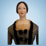 25 inch KPM Brown hair 1840s China Head Doll, won 1st Place UFDC 1961.... Kid body Silk Dress with velvet trim