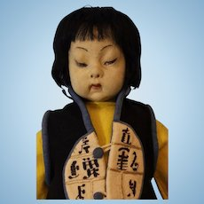 24 inch Lenci Asian boy doll 1931 All felt clothing, orig. wood lantern #188A 1931