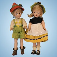 "Two 9 inch Tagged c.1930's Madame Alexander ""Swiss"" Brother/Sister Tiny Betty Face"