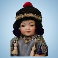 7-1/2 Inch All Bisque Kestner? 179.1 Oriental doll Swivel head,Brown Sleep eyes
