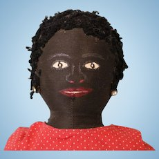 16 Inch Antique American Black Cloth Doll c.1900  Mammy Painted Face