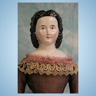 Antique 27 inch Kister China Head Lady Doll Unusual Hairstyle Kinsbach China Hands
