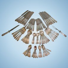 "Towle Sterling Silver Flatware Set of 76 Pieces ""Georgian"" Pattern 77.13 Ounces"