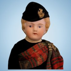 Antique 10-1/2 inch German Parian Boy Fully dressed in Scottish costume