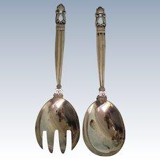 Antique 2 pc Sterling Silver Acorn Pattern Salad Set by Georg Jensen Fork Spoon