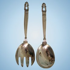 Antique 2 pc Sterling Silver Acorn Pattern Salad Set by Georg Jensen Fork Spoon
