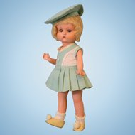 """9 inch Antique """"Just Me"""" Armand Marseille Painted Bisque Original Compo Body and Wig"""