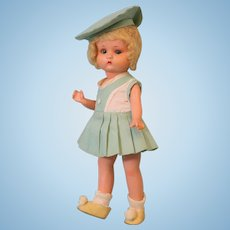 "9 inch Antique ""Just Me"" Armand Marseille Painted Bisque Original Compo Body and Wig"