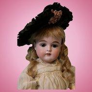 Antique 17 inch 167 German Kestner doll Dressed in silk dress,antique hat, shoes