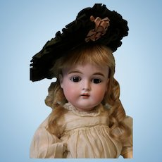 Antique 17 inch 167 German Kestner doll Dressed in silk dress,antique hat, shoes