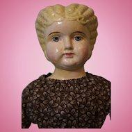 17 inch Antique German Paper Mache Doll Blond Hair Blue Eyes Antique Clothing clean