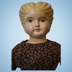 17 inch Antique German Paper Mache Doll Blond Hair Blue Eyes Antique Clothing clean