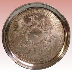 """Antique London 1879 Walter + John Barnard 30"""" Circ.10"""" wide Hallmarked Tray 18.5"""