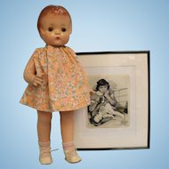19 inch Patsy Ann composition Effanbee doll with picture of Jane Withers