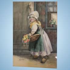 Excellent watercolor of Dutch girl framed under glass signed K. Lindsay