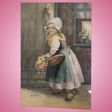 Excellent watercolor of Dutch girl framed under glass signed K. Lindsay