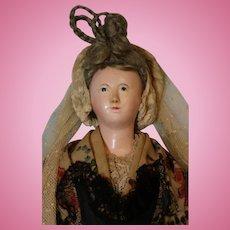 18 inch Papier Mache German shoulderhead doll Mohair braided hair Pink kid body 1840