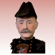Antique 14 inch Admiral Dewey Dressel Bisque Portrait Doll Orig Uniform Sword