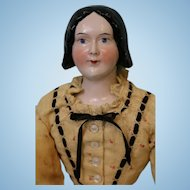 20 inch 1840s China Head pink tint lady doll with Provenance Early Braided bun