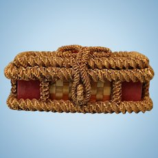 Wonderful Early Wicker Woven Straw Basket Perfect For Antique Doll Trousseau