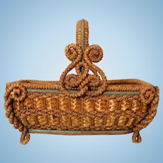Antique Biedermeier Straw Basket Great for Doll Display Beautiful with Scrolls