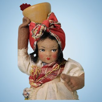 10 inch Zitrin Irmaos Bahia Felt Girl Doll Rio Brazil Label Vintage, circa 1930s