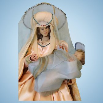 Artist made Mary and Jesus 19 inch high holding baby Jesus a crown on Mary,Jesus