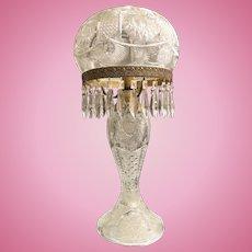 27 inch Antique Art Nouveau Cut Glass Table Lamp w. Original Domed Shade 28 Prisms