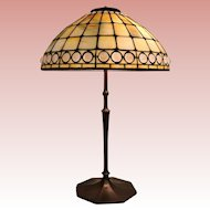 24 inch tall American Tiffany Lamp Opalescent Jeweled glass Geometric Table Lamp
