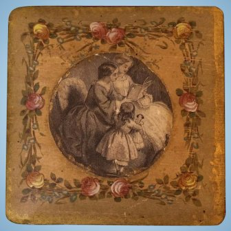 4 inch X 1 inch Antique Box Hand Decorated 2 woman and one child with doll Silk Lined