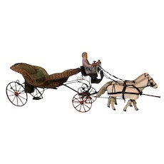 36 inch long Antique Carriage with horses Mechanical Tufted silk Wicker Metal