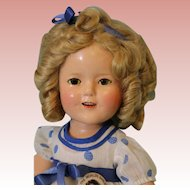 15 Inch Ideal Shirley Temple Doll Box Composition Stand Up and Cheer w. Pin 1935