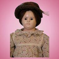 23 inch German Voit Papier Mache doll Glass eyes Orig stitchjoint cloth body