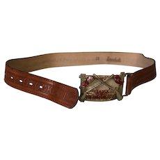28 inch Leather Davy Crockett Belt