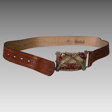 28 inch Leather Davy Crockett Belt