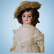 Antique 21 inch Bru Jne R 9 Bebe French Bisque Doll 1889 Adorable White Dress w Lace