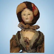 "Antique 17"" Peg Wooden 1830 Grodnertal Doll dressed Jointed All Original paint"