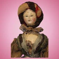"Antique 17"" Peg Wooden 1830 Grodnertal Doll dressed Jointed All Original paint"